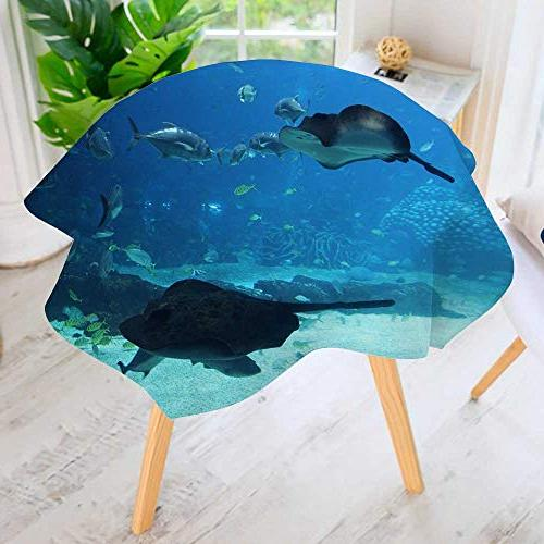 round tablecloth polyester dolphins sea