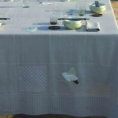 "Yves Tablecloth Birds Linen 71"" NEW"