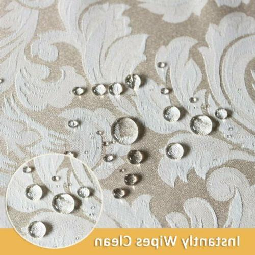 ColorBird Scroll Jacquard Tablecloth Spillproof Waterproof Fabric