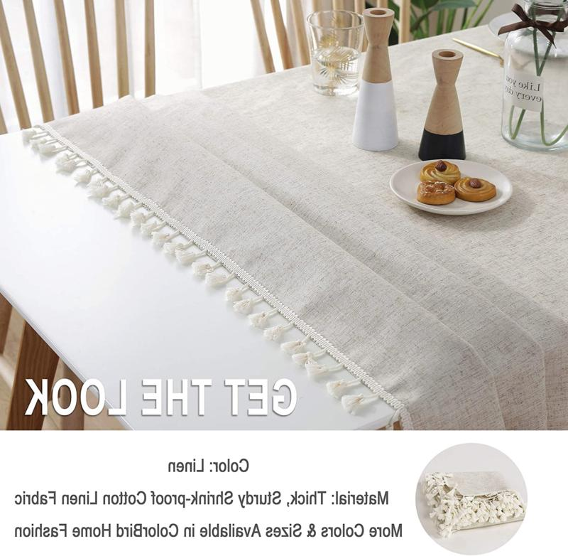 Tablecloth Cotton Linen Dust-Proof Shrink-Proof Tab