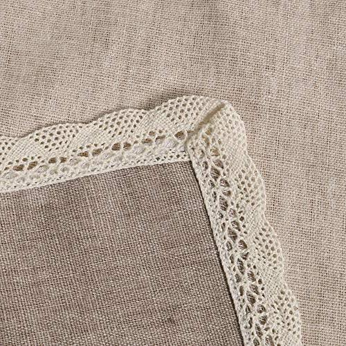 ColorBird Solid Cotton Linen Tablecloth Waterproof Lace Table for Kitchen Dinning Decoration