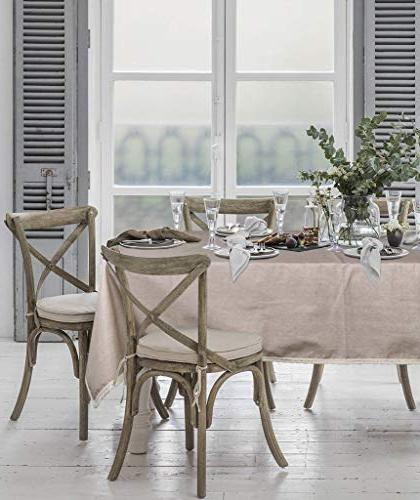 ColorBird Solid Tablecloth Waterproof Macrame Table Cover Kitchen