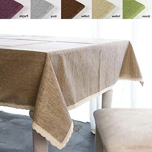 solid cotton linen tablecloth waterproof