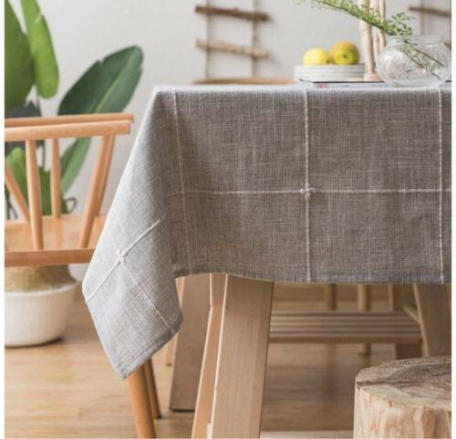 solid embroidery tablecloth cotton linen dust proof