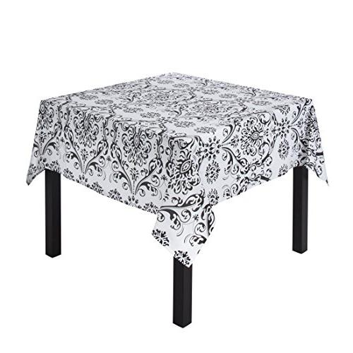 square cotton black white damask