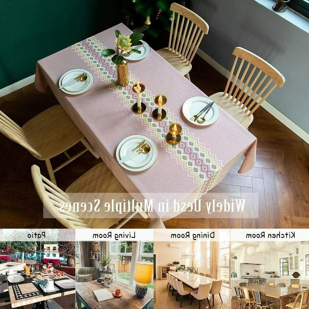 Stitching Dust-Proof Linen Kitchen Party Table