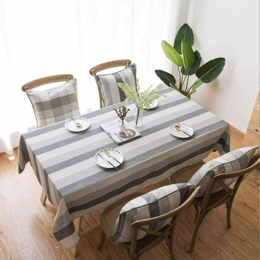 Stitching Tassel Dust-Proof Linen Tablecloth Party Table