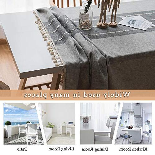 ColorBird Tassel Tablecloth Heavy Fabric Table for Decoration