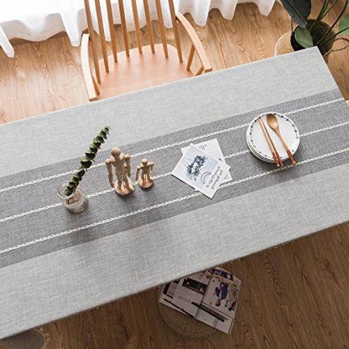ColorBird Stitching Tassel Tablecloth Heavy Weight Fabric Dust-Proof Cover for Tabletop Decoration