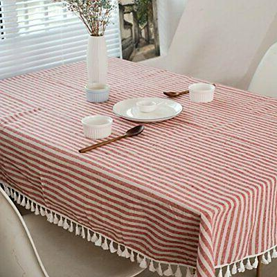 ColorBird Stripe Tassel Tablecloth Cover Kitch