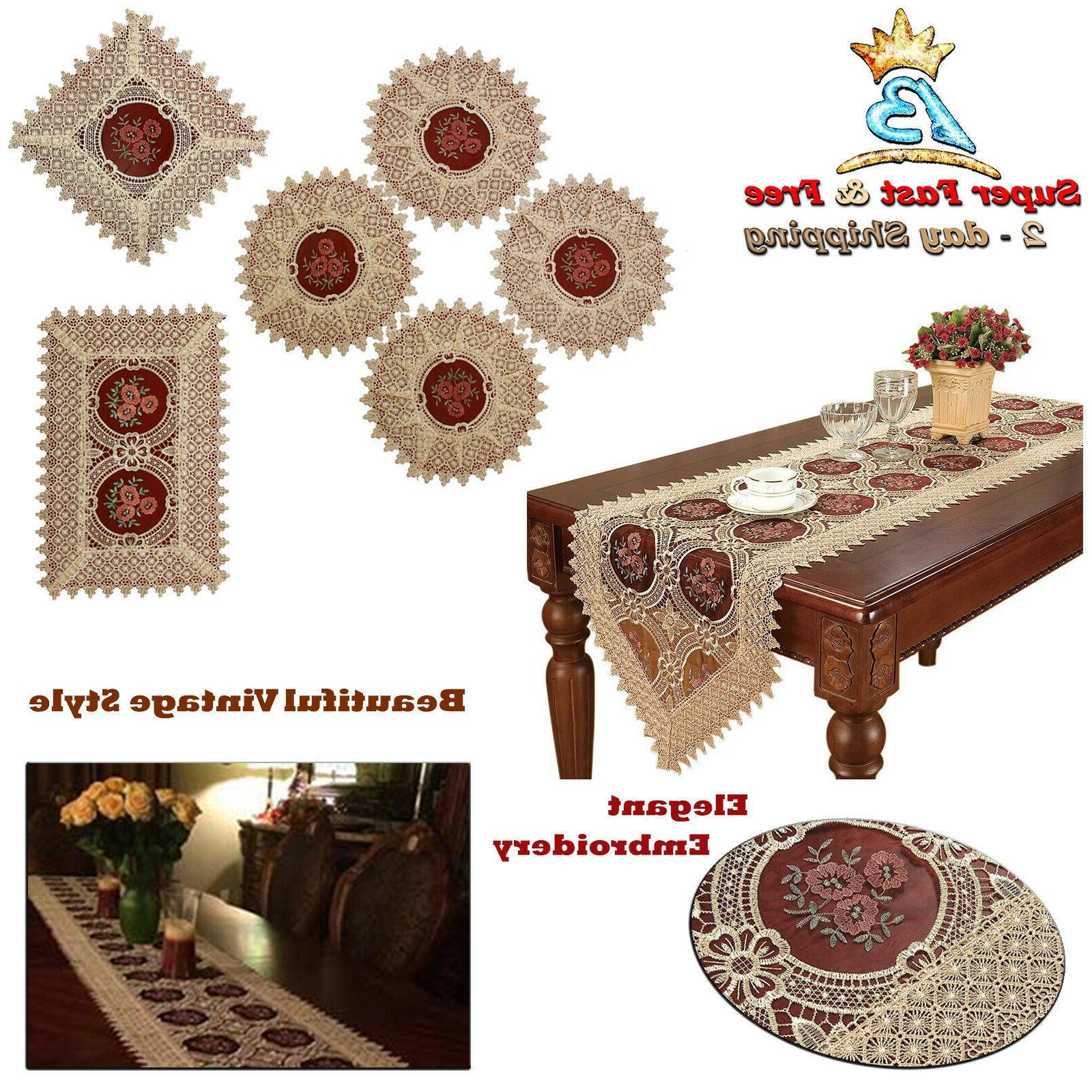Table Runner Vintage Tablecloth Gold Burgundy Lace Embroider