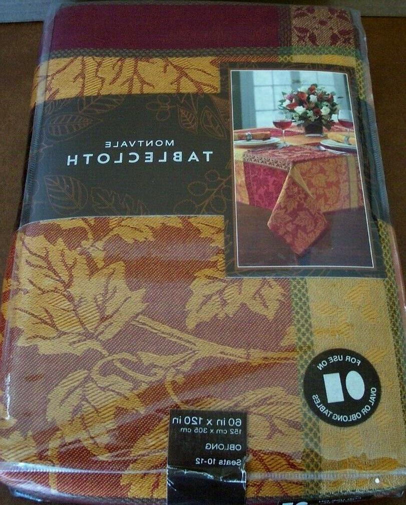 Montvale Tablecloth+12 Napkins Thanksgiving/Autumn Gold/Rust