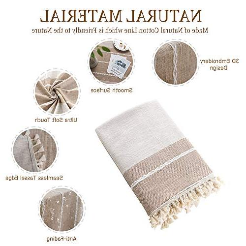 TEWENE Cloth Cotton Linen Free Anti-Fading Embroidery Tassel Table Cover Dining Kitchen