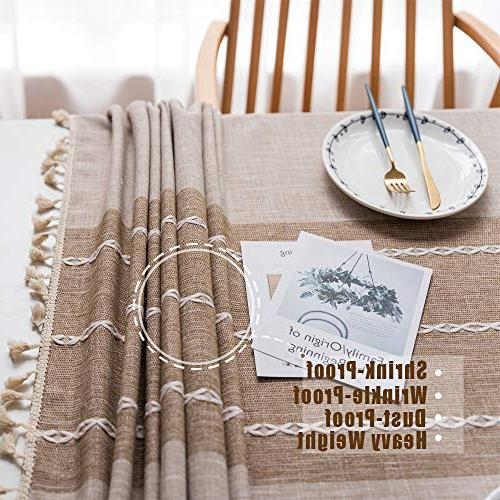 TEWENE Tablecloth, Cloth Cotton Linen Free Tassel Dining