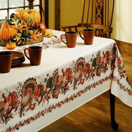 Thanksgiving Printed Fabric Tablecloth Rectangle 60-Inch-by-