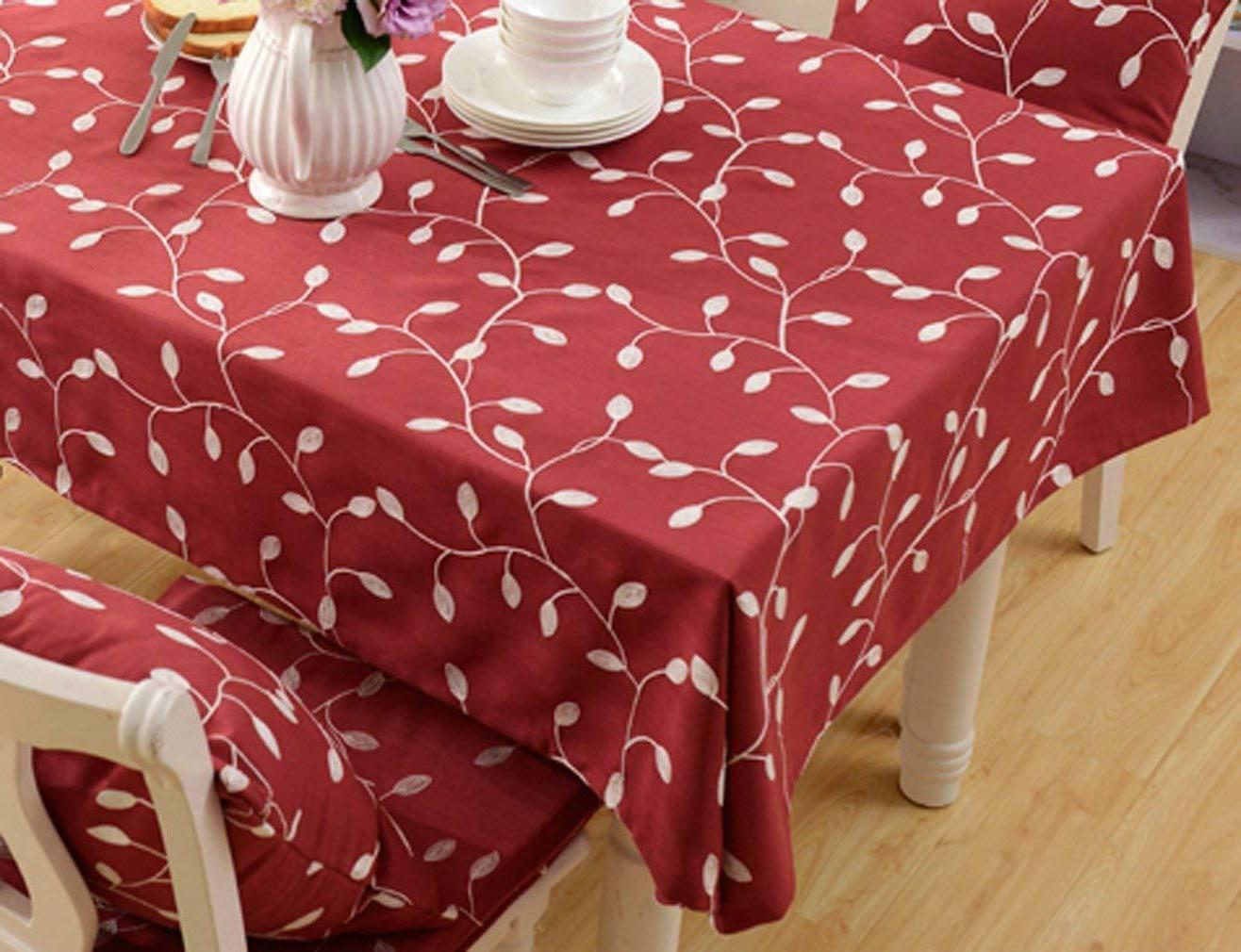 Tina Linen Tablecloth Leaf Embroidered for Dinner