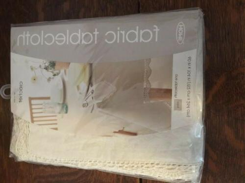 vintage 100 percent cotton with crochet tablecloth