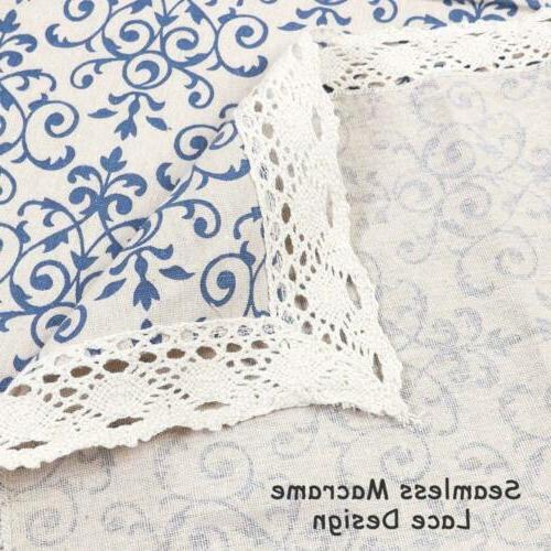 ColorBird Navy Pattern Decorative Lace Tablecloth