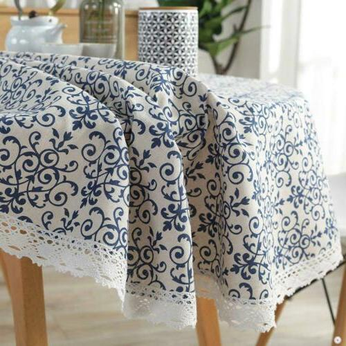 ColorBird Navy Pattern Decorative Macrame Tablecloth