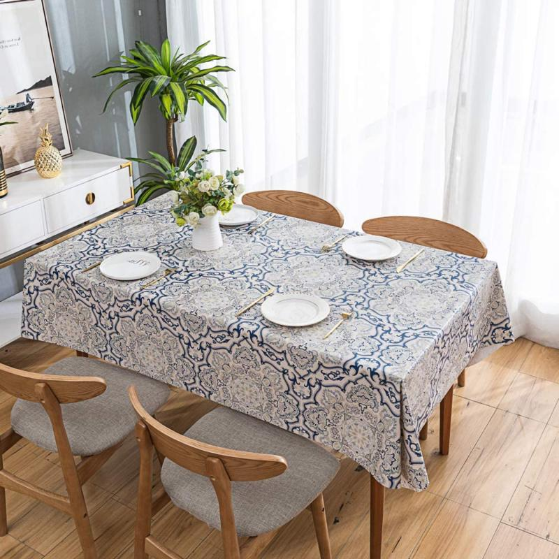Leevan Tablecloth Rectangular Table Cover Wipe Pvc