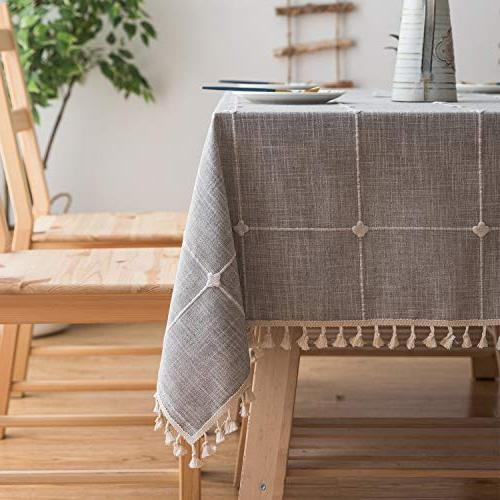 Mokani Washable Cotton Linen Solid Embroidery Tablecloth, Table Great for Dinning Tabletop