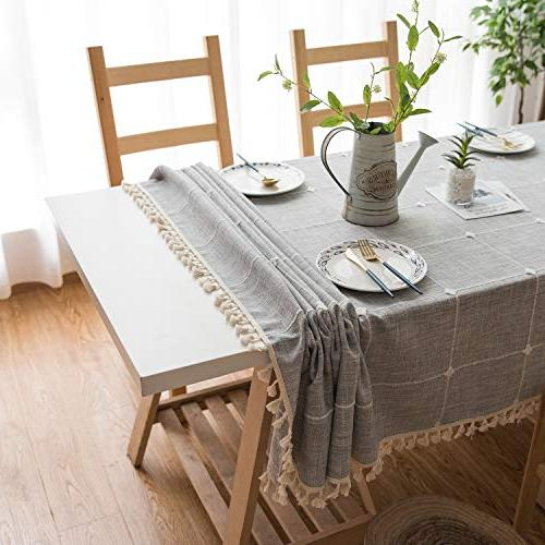 Mokani Washable Solid Embroidery Lattice Tablecloth, Rectangle Great for Kitchen Tabletop Buffet Decoration
