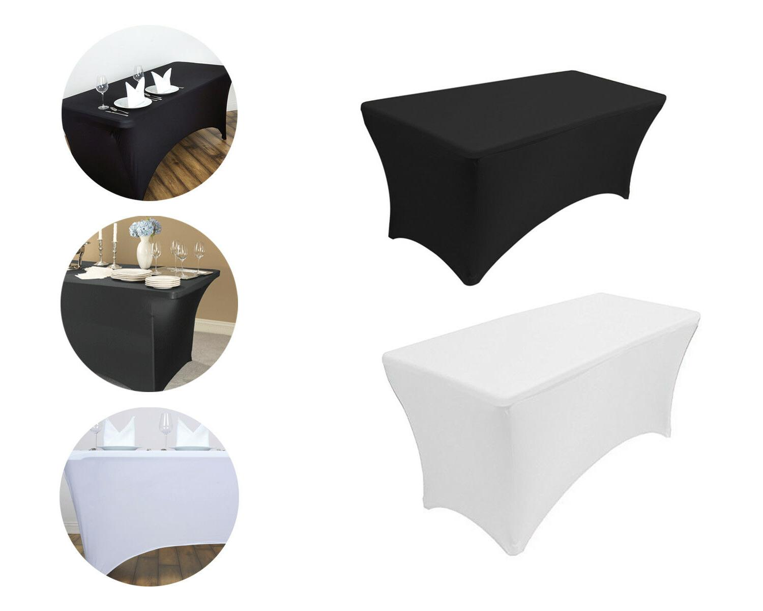 white black rectangular wedding table cover fitted