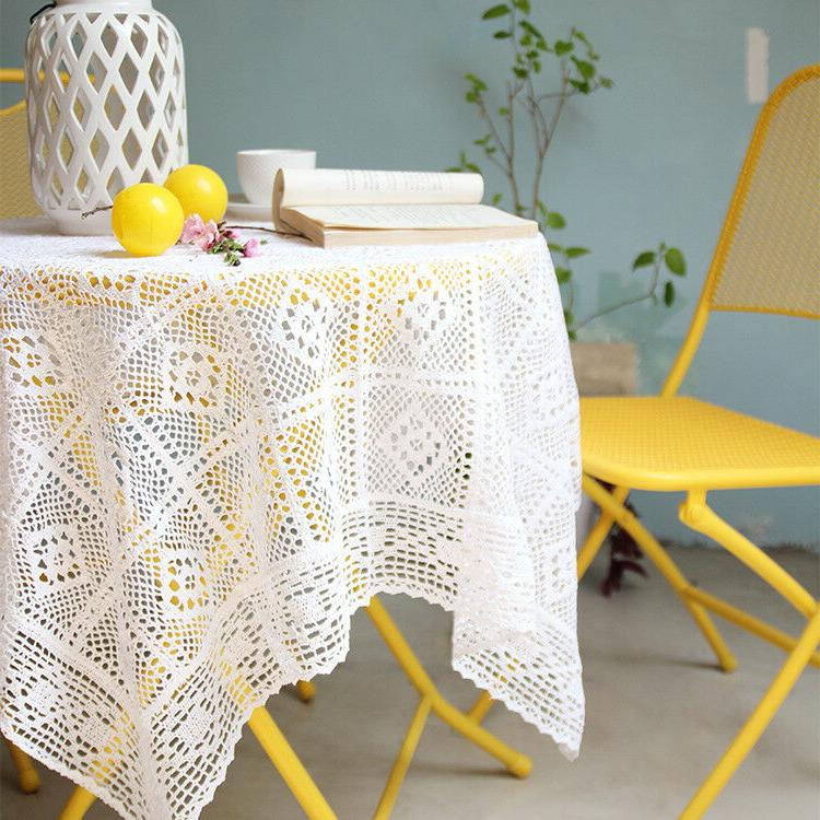white cotton lace crochet tablecloth embrodiry pastoral