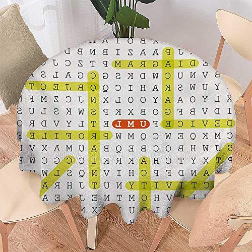 cobeDecor Word Wrinkle Free Tablecloths Unified Modeling Language Word Puzzle with Highlighted Keywords Tablecloth D Black Yellow Orange