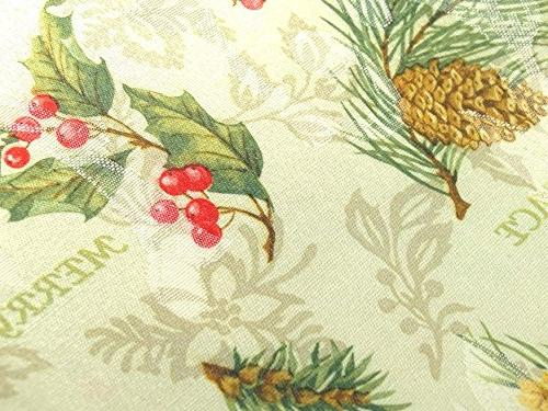 xp-hs144 Holiday Spirits Tablecloth x 60 Pine Cones & Berries
