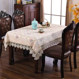 Lace Beige Tablecloth Embroidered Table Cover Coffee Table C
