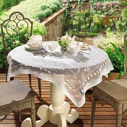 White Lace Square Tablecloth /  Topper for small table. Size