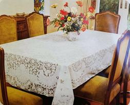 Elegant Lace Tablecloth floral design in cream or white colo