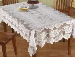Lace Tablecloth Rectangle White IN HAND Floral Rose Cover El