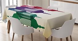 Ambesonne Lantern Tablecloth, Antique Style Colorful Arabian