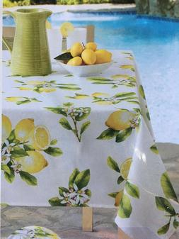 """Lemon Bliss Tablecloth Indoor Outdoor Stain Resistant 52"""" X"""