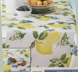 "Giuliana Lemon Tablecloth 60"" X 84"" Spillproof Indoor/Ou"