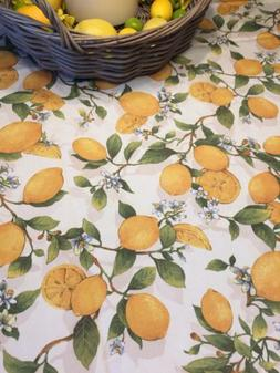 Lemon Tree LEMONS Spillproof Tablecloth Fabric Textured Bens