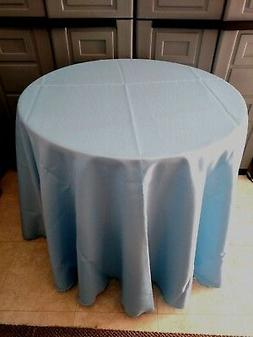 light Blue polyester Tablecloth  Oval,Square,Rectangular,Rou