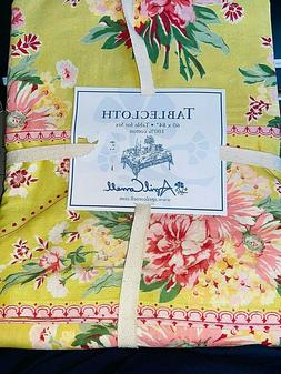 APRIL CORNELL ~ Lime Green & Pink Spring Floral Tablecloth 6