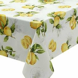 """Benson Mills Limoncello Spillproof Tablecloth 70"""" Inch ROUND"""