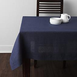 Solino Home 100% Linen Tablecloth - 60 x 90 Inch Navy, Natur