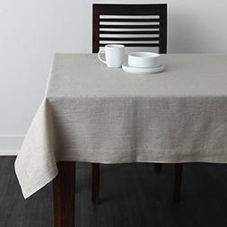 Solino Home 100% Pure Linen Plain Tablecloth Athena, Natural