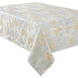 Waterford Linens Eva 90-Inch Round Tablecloth Jacquard Flora