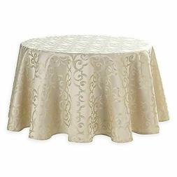 Waterford Linens Sorelle Beige 90-Inch Round Tablecloth Jacq