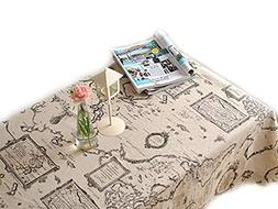 LINENLUX Map Letter Printed Tablecloth Macrame Lace Table Co