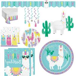 Llama Birthday Party Supplies, Plates and Napkins for 16 Tab
