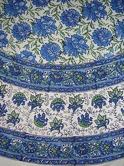 Lotus Flower Block Print Floral Round Cotton Tablecloth 72 B