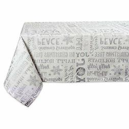 DII Machine Washable Printed Silver Collage Holiday Tableclo