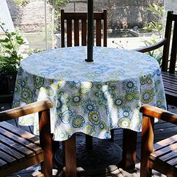 ColorBird Medallion Flower Outdoor Tablecloth Waterproof Whi